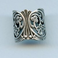 Floral Wrap Finger Ring Oxidized Silver (1)