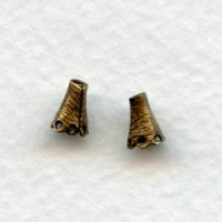 Cone Shaped Fancy Bead Caps 5mm Oxidized Brass (24)