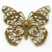 Most Exquisite Filigree Butterfly Oxidized Brass (1)