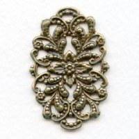 Floral Oval Openwork Oxidized Brass 42mm (1)