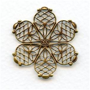 ^Filigree Flower Shape Oxidized Brass 35mm (1)