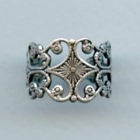 Sturdy Filigree Adjustable Finger Ring Oxidized Silver (1)