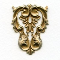 Triangle Stamping Leaf Details Flat Oxidized Brass (1)