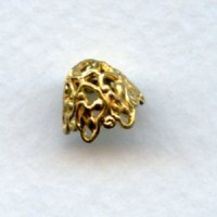 Elaborate Cone Filigree Bead Caps Raw Brass (6)