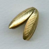 Large Leaves or Petals 19mm Bead Caps Raw Brass (2)