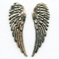 Detailed Large Wings Oxidized Silver 65mm (1 set)
