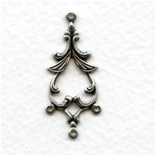 Fabulous Floral Connectors 33mm Oxidized Silver (12)