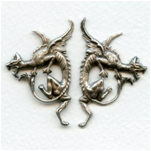 Gothic Style Dragon Stampings Oxidized Silver (1 set)