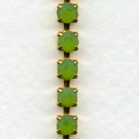 Opal Green Cup Chain SS18 Raw Brass (1 ft)