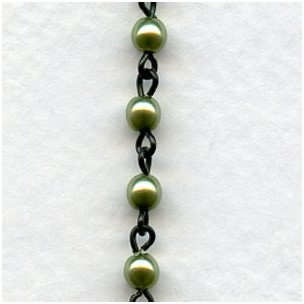 ^Olive Pearls 4mm with Black Linkage Rosary Chain (1 foot)