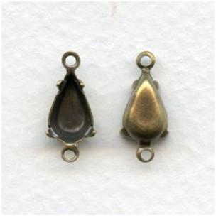 Pear Shape 2 Loop 10x6mm Settings in Oxidized Brass