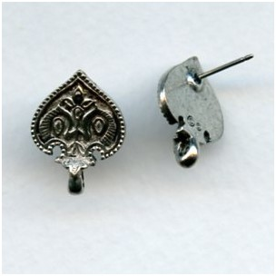Long Life Peacock Earring Tops Oxidized Silver (1 Pair)