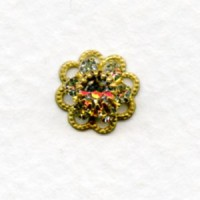 Crystal and Filigree Multiple Stone Component Raw Brass 10mm (1)