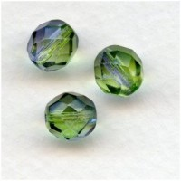 Peridot and Violet Glass Faceted Beads Round 8mm