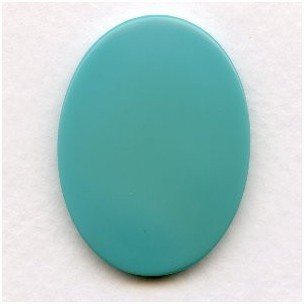 ^Turquoise Glass Cabochon Buff-Top 40x30mm