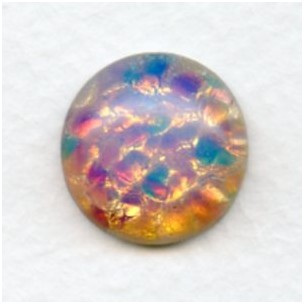 Pink Fire Opal Glass Cabochon 18mm Handmade