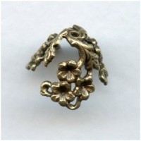 Add Some Bling Oxidized Brass Floral Bead Caps 12mm (6)