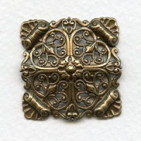 Ornate Domed Filigree Square Oxidized Brass 33mm (1)