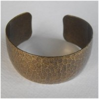 Hammered Oxidized Brass Domed Cuff 29mm