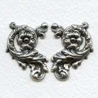 Ornate Floral Right and Left Flourishes Oxidized Silver