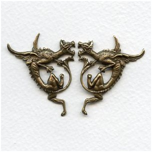 Gothic Style Dragon Stampings Oxidized Brass (1 set)