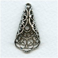 Filigree Ornate Fan Fold 29x15mm Oxidized Silver (4)