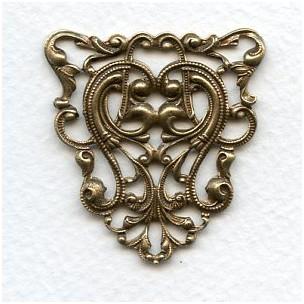 Filigree Ornate Triangle 40mm Stamping Oxidized Brass