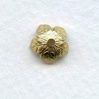 Leaf-Embossed Bead Caps 8mm Raw Brass (12)
