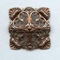 Ornate Domed Filigree Square Oxidized Copper 33mm (1)