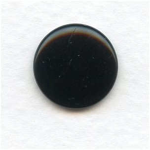 ^Jet Glass Cabochons Round Buff-Tops 15mm