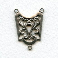Connector 28mm Ornate 3 Loop Oxidized Silver (3)