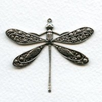 Victorian Style Dragonfly Oxidized Silver 41mm (1)