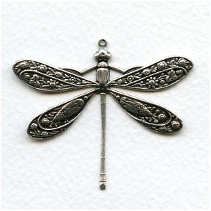 *Victorian Style Dragonfly Oxidized Silver 41mm (1)