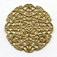 Ornate Round Flat Filigree Raw Brass 51mm (1)