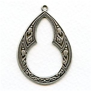 Ornate Pendant Hoops Oxidized Silver (4)