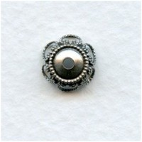 Elegant Filigree Bead Caps 9mm Oxidized Silver (12)