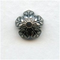 Leaf Embossed Bead Caps 8mm Oxidized Silver (12)