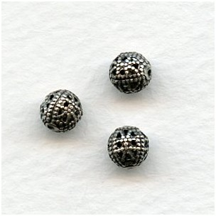 Round Filigree Beads Oxidized Silver 6mm (12)