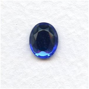 Sapphire Glass Flat Back Stone 10x8mm Faceted Top
