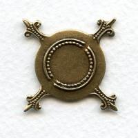 Flat Turtle Settings 19mm Base Oxidized Brass (12)