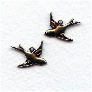 Flying Bird Pendants Oxidized Brass
