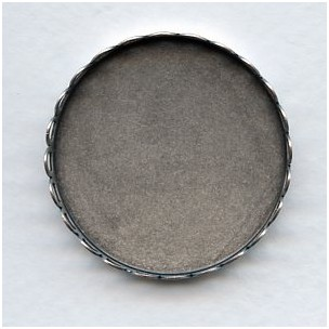 Lace Edge Settings Round 35mm Oxidized Silver (6)
