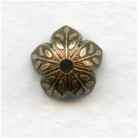 Leaf Embossed Bead Caps 8mm Oxidized Brass (12)