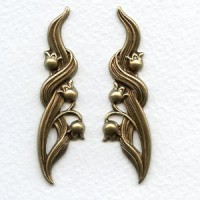 Lily of the Valley Flourishes Oxidized Brass (1 set)