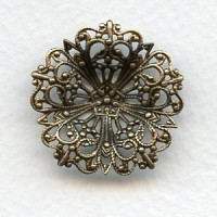 Flower Dapt Round Filigree 29mm Oxidized Brass (3)
