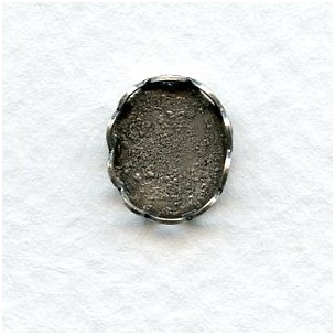 Lace Edge Settings 10x8mm Oxidized Silver (12)