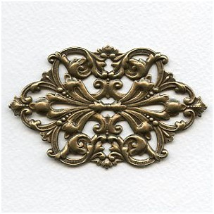 Large Oval Openwork Stamping Oxidized Brass (1)