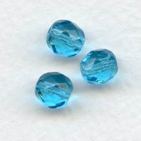 Aquamarine Round Faceted Czech Glass Beads 8mm