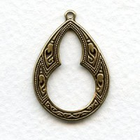Moroccan Style Oxidized Brass Pendant Hoops 29mm (6)