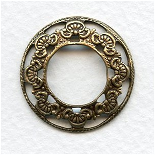 Floral Porthole Settings Oxidized Brass 23mm (6)